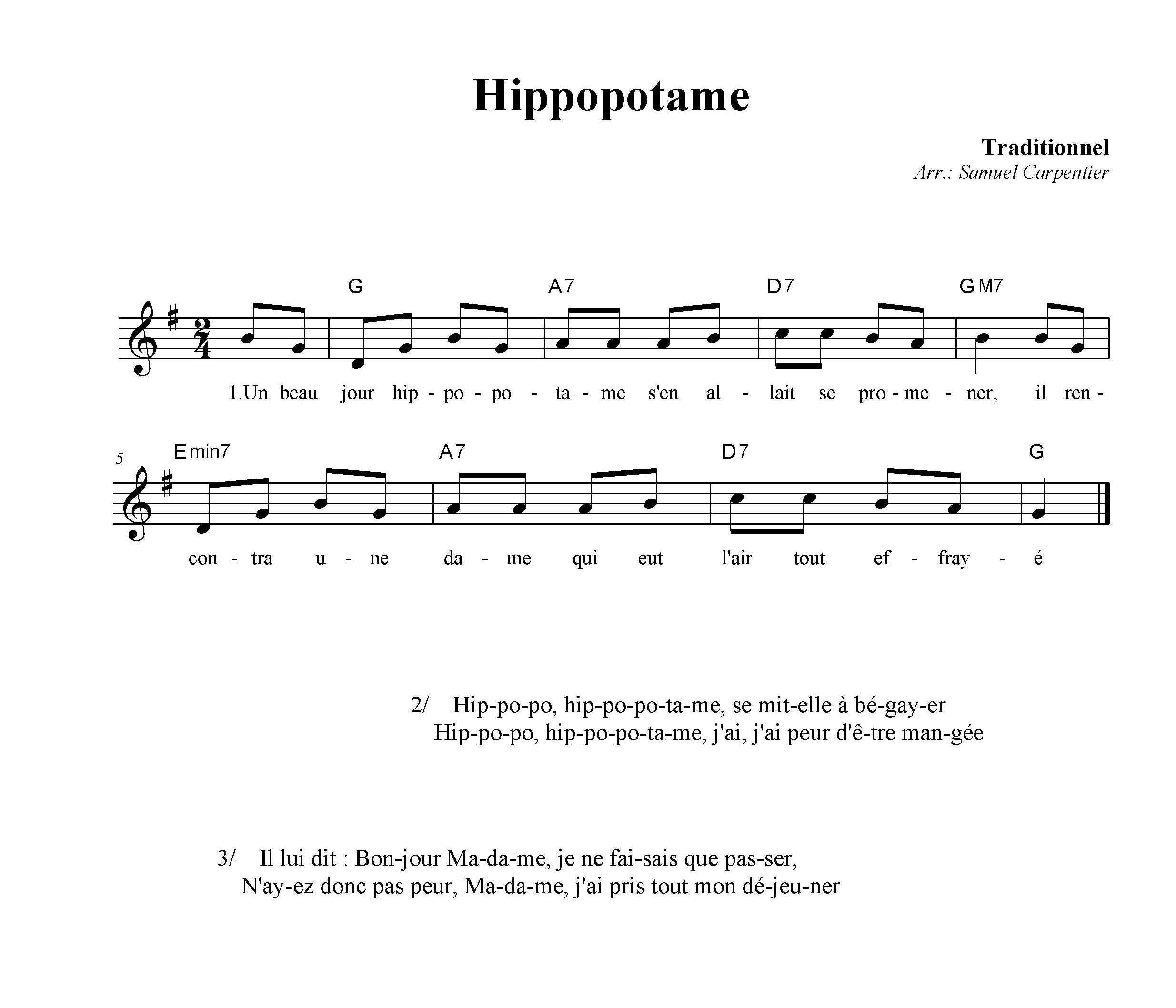 Chanson hippopotame - Je suis malade chanson ...